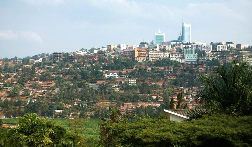 Kigali city center on the hill
