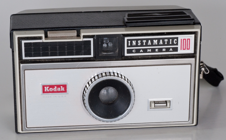 Kodak Instamatic 100, released in 1963 with a price of $16 at the time.