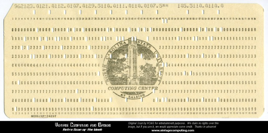 Paper punch card, a standard for data entry in the 1970s.