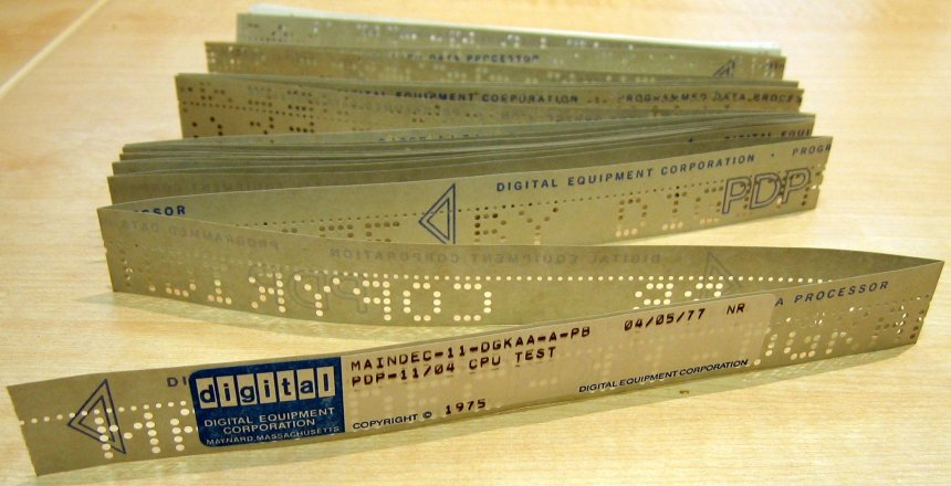Paper tape digital storage as used by DEC PDP-11 minicomputers in 1975.