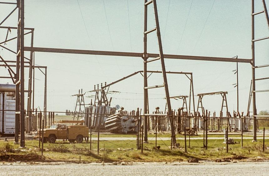 Fallen transformer at the Sylmar Power station.