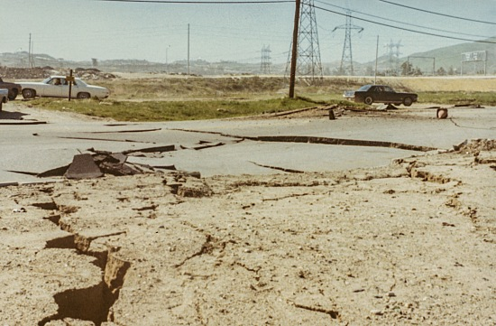 Lateral deformation of the ground near the Sylmar Power station, close to the epicenter of the earthquake.