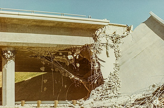 Destroyed overpass on the I-5 freeway.