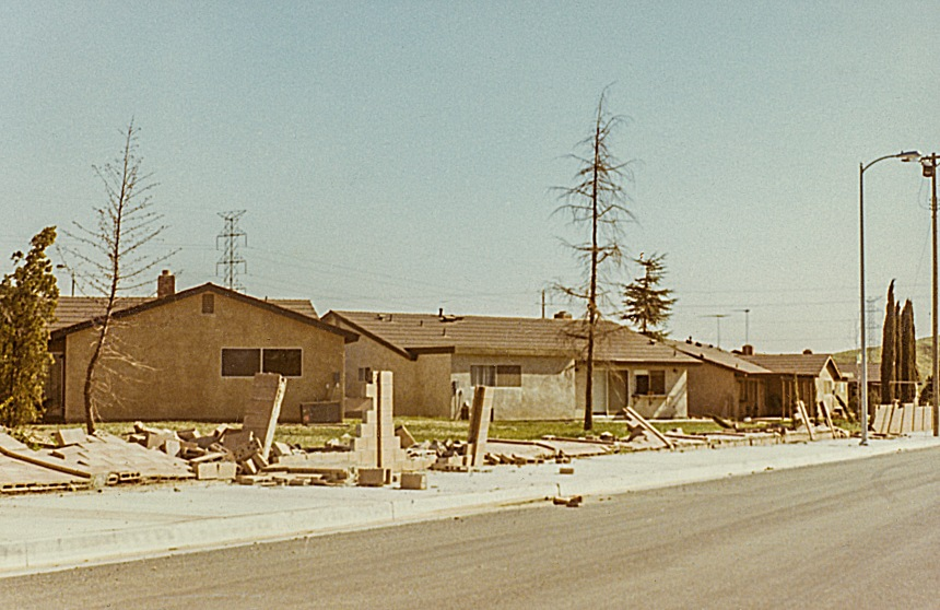 Brick walls destroyed in suburban San Fernando Valley.